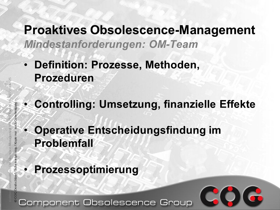 Proaktives Obsolescence-Management Mindestanforderungen: OM-Team