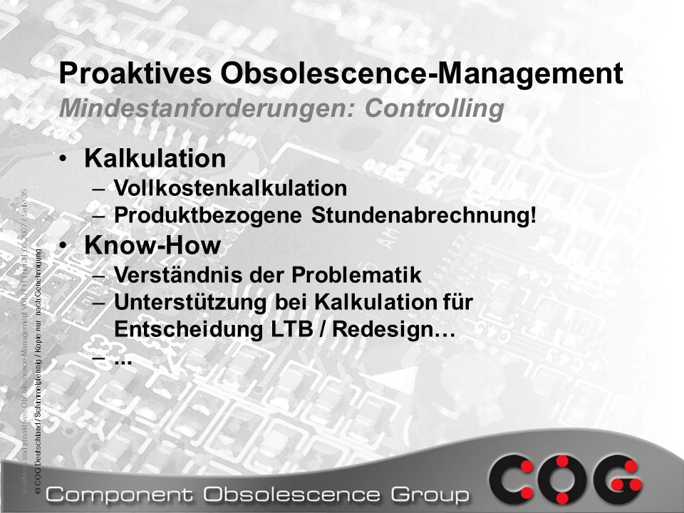 Proaktives Obsolescence-Management Mindestanforderungen: Controlling