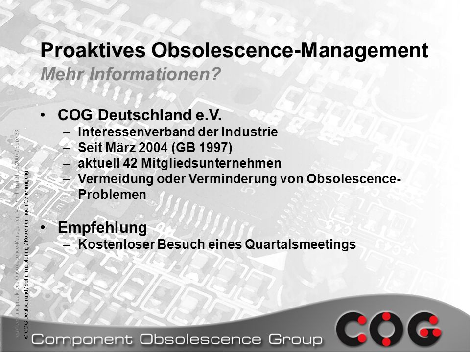 Proaktives Obsolescence-Management Mehr Informationen