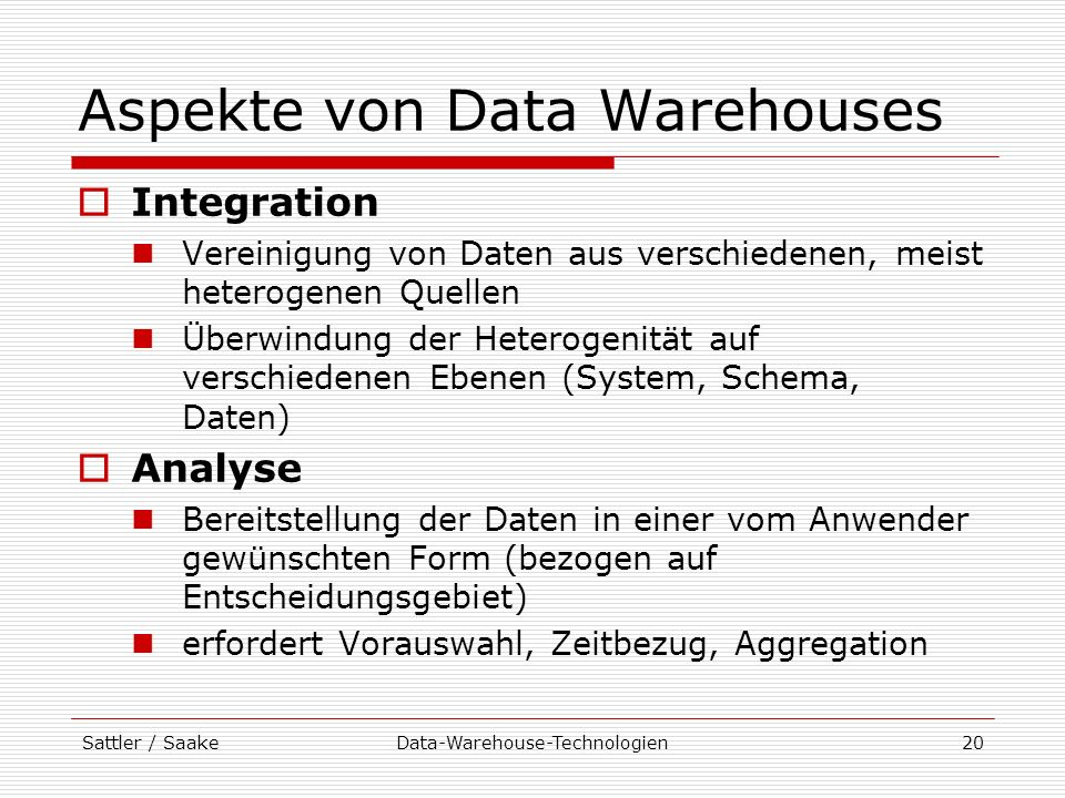 Aspekte von Data Warehouses