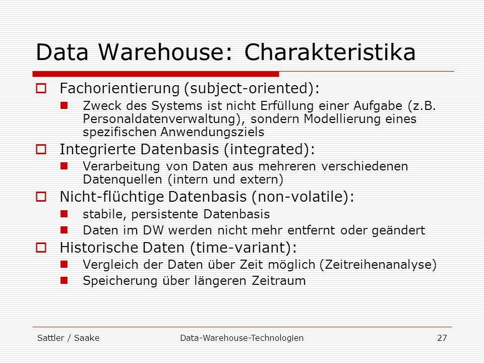 Data Warehouse: Charakteristika