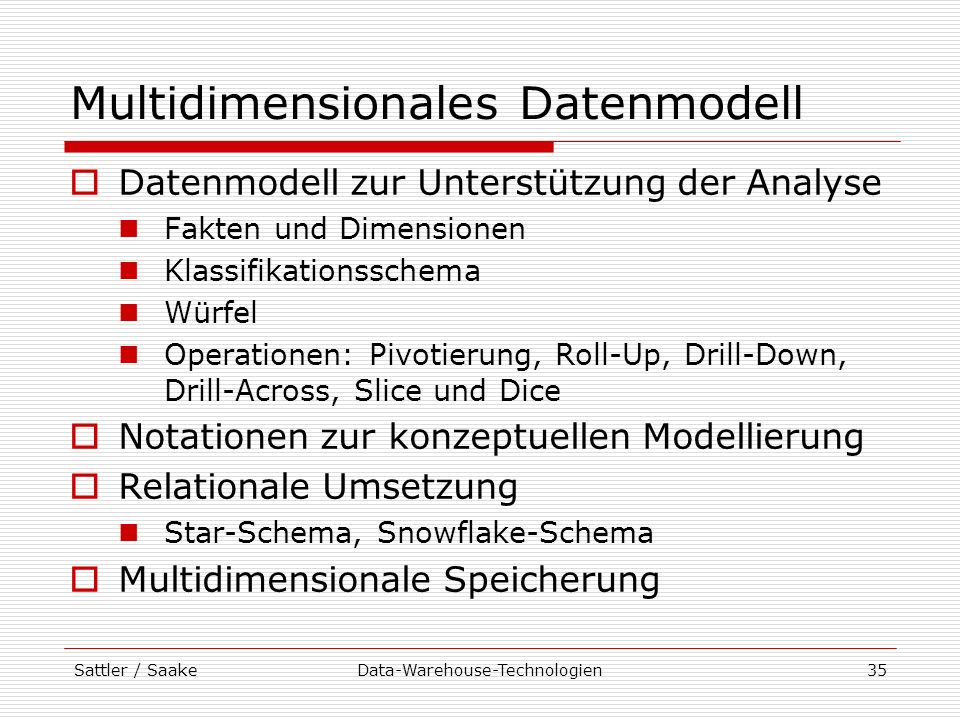 Multidimensionales Datenmodell