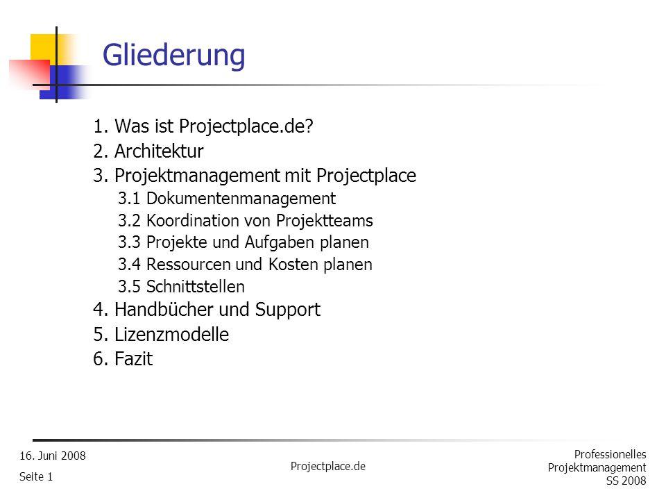 Gliederung 1. Was ist Projectplace.de? 2. Architektur - ppt ...