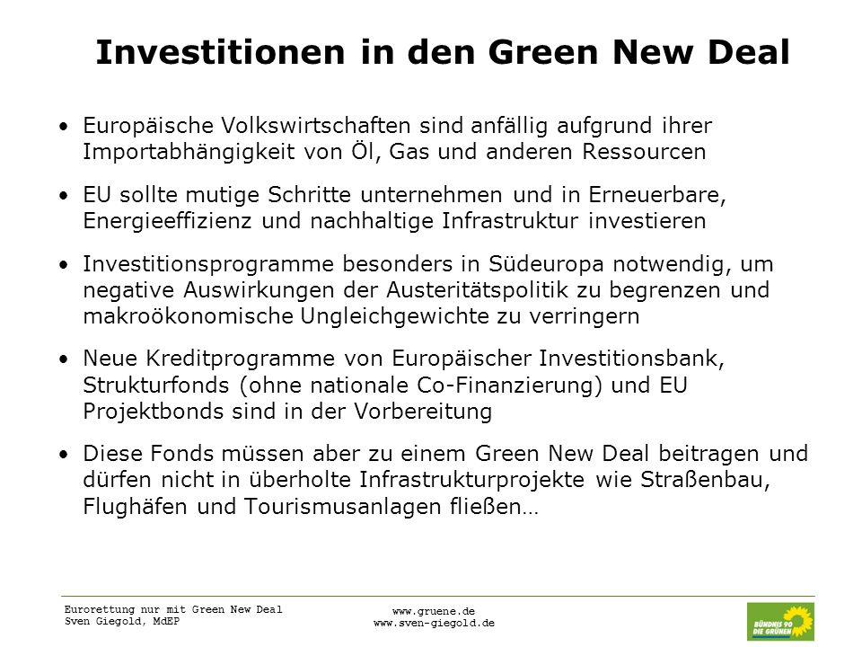Investitionen in den Green New Deal