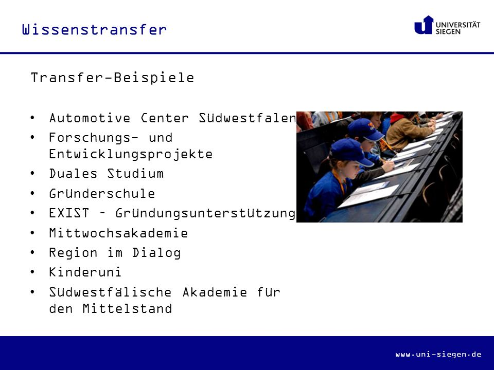 Wissenstransfer Transfer-Beispiele Automotive Center Südwestfalen