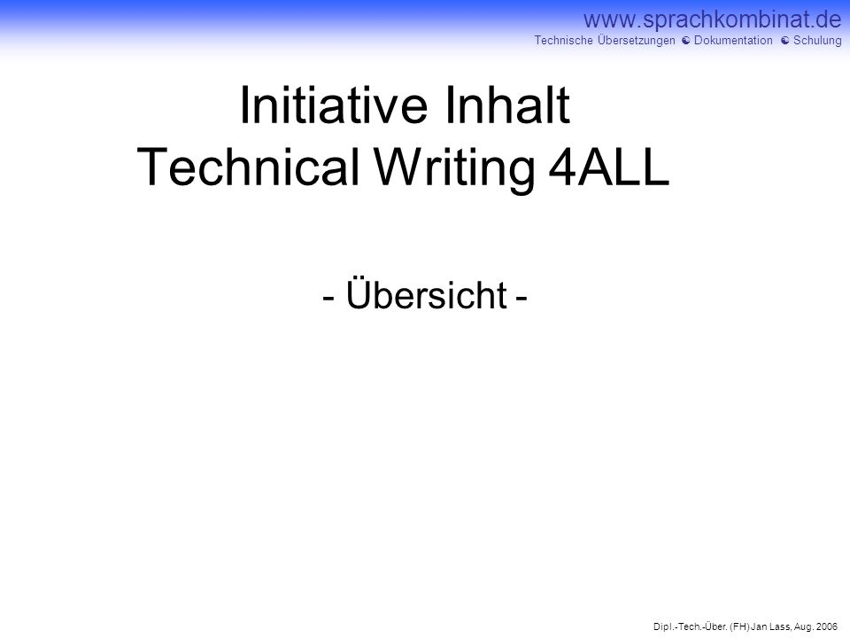 Initiative Inhalt Technical Writing 4ALL