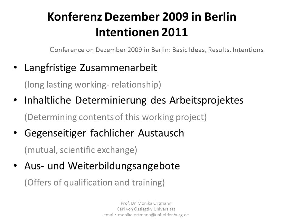 Konferenz Dezember 2009 in Berlin Intentionen 2011