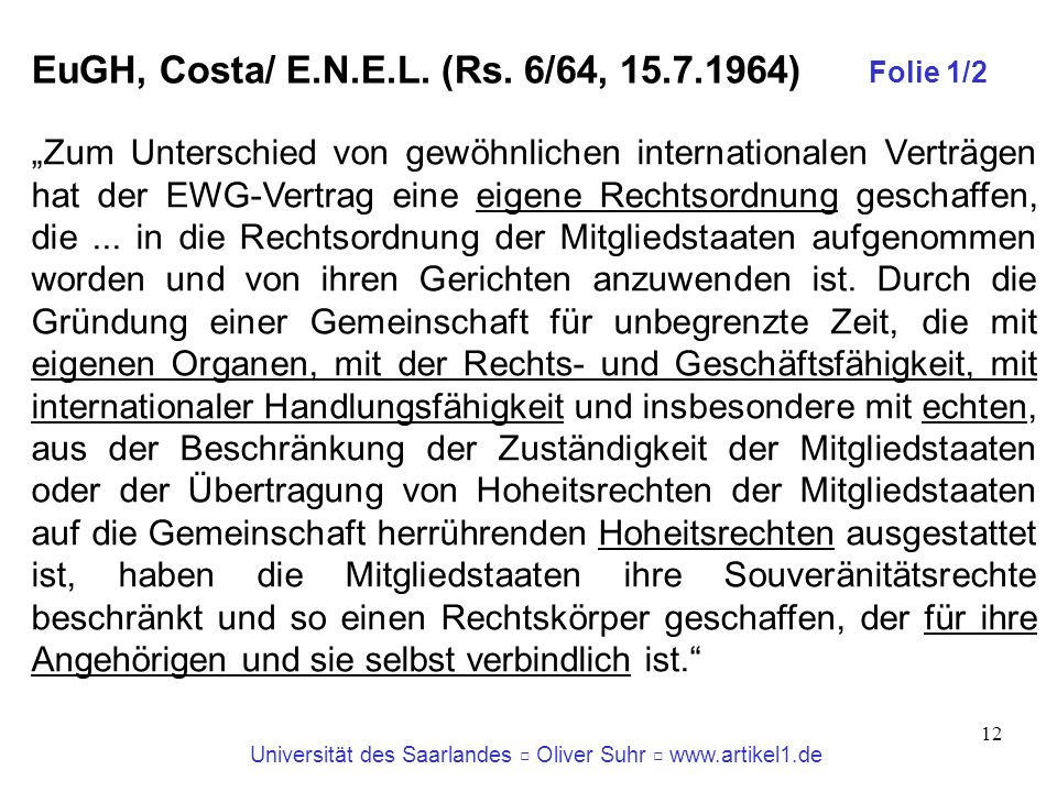 EuGH, Costa/ E.N.E.L. (Rs. 6/64, )‏ Folie 1/2