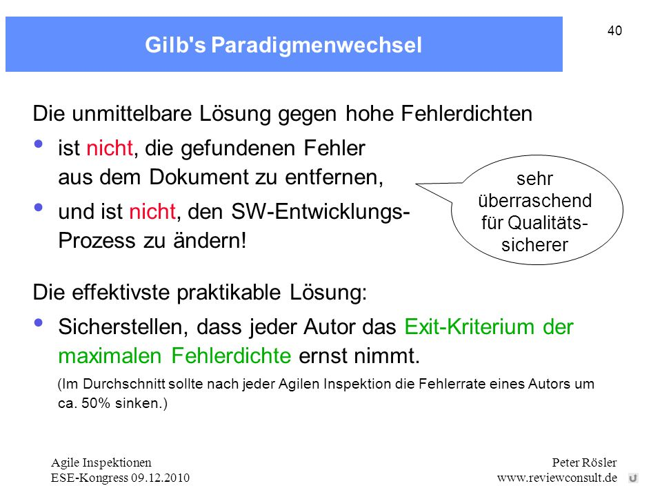 Gilb s Paradigmenwechsel