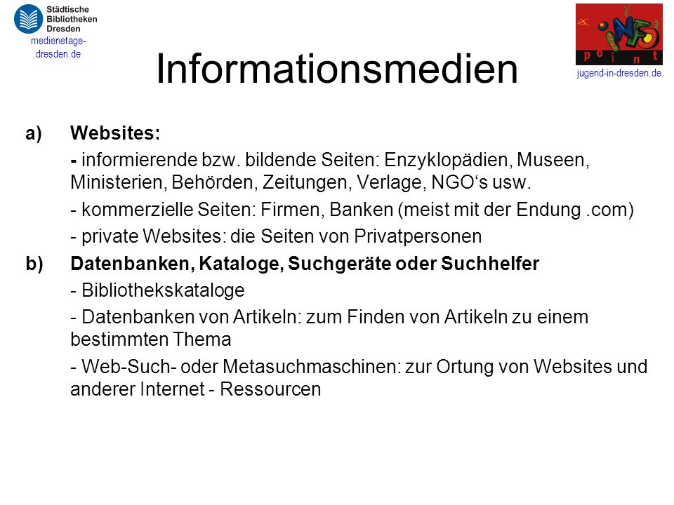 Informationsmedien Websites: