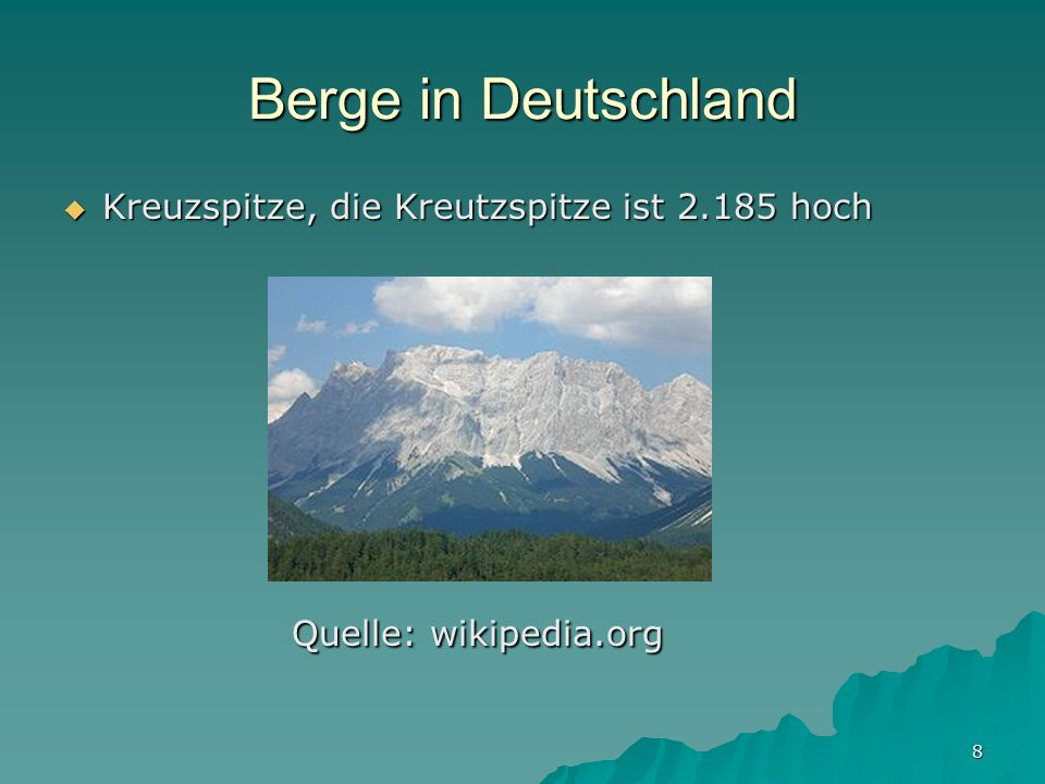 Berge in Deutschland Quelle: wikipedia.org