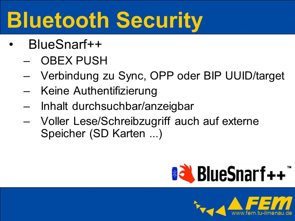 Bluetooth Security BlueSnarf++ OBEX PUSH