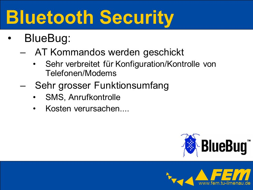 Bluetooth Security BlueBug: AT Kommandos werden geschickt