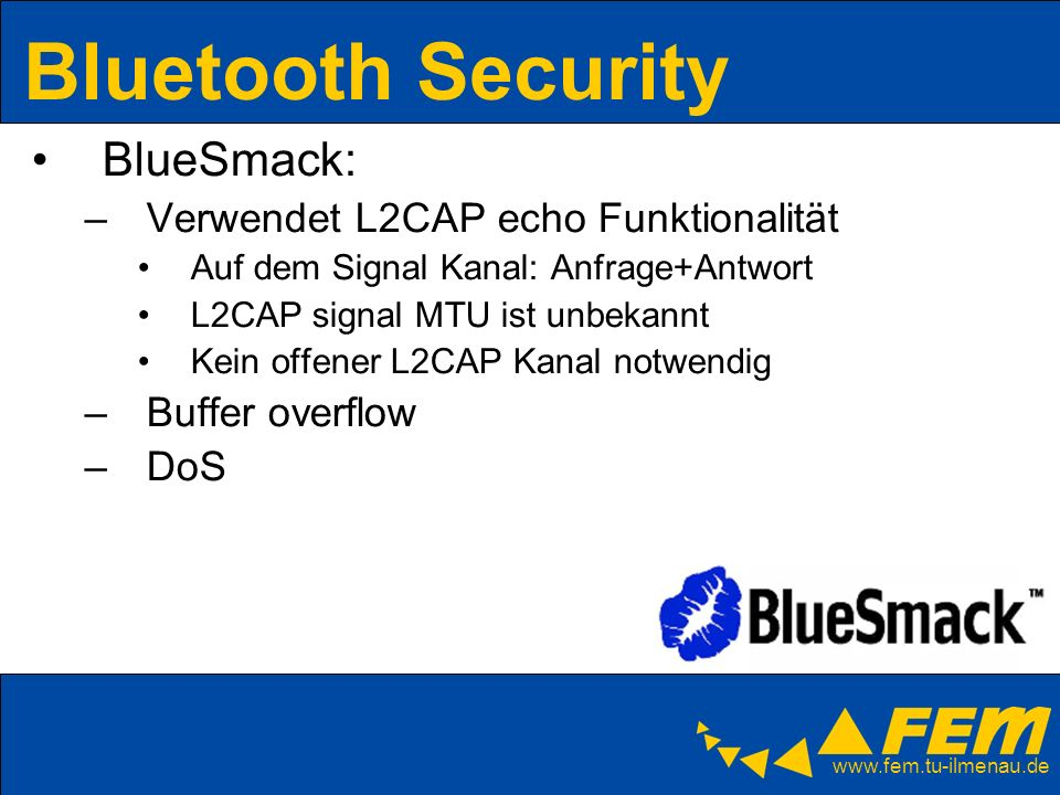 Bluetooth Security BlueSmack: Verwendet L2CAP echo Funktionalität