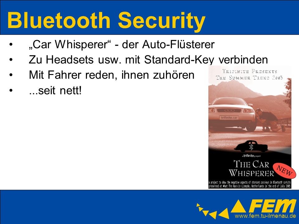 "Bluetooth Security ""Car Whisperer - der Auto-Flüsterer"
