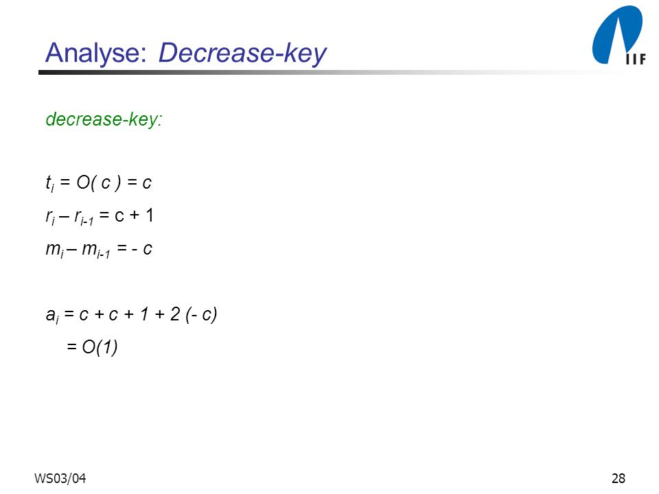 Analyse: Decrease-key