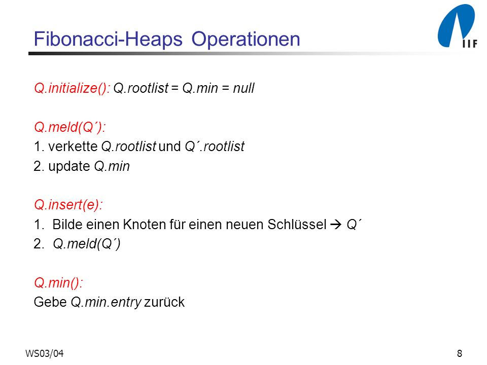 Fibonacci-Heaps Operationen
