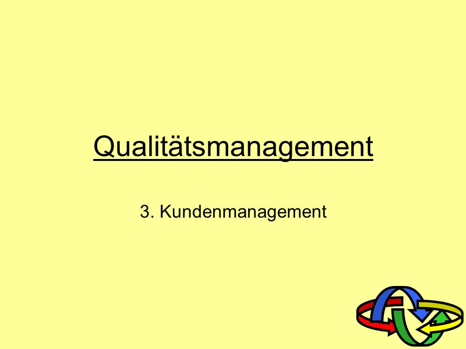 Qualitätsmanagement 3. Kundenmanagement