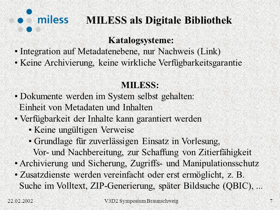MILESS als Digitale Bibliothek