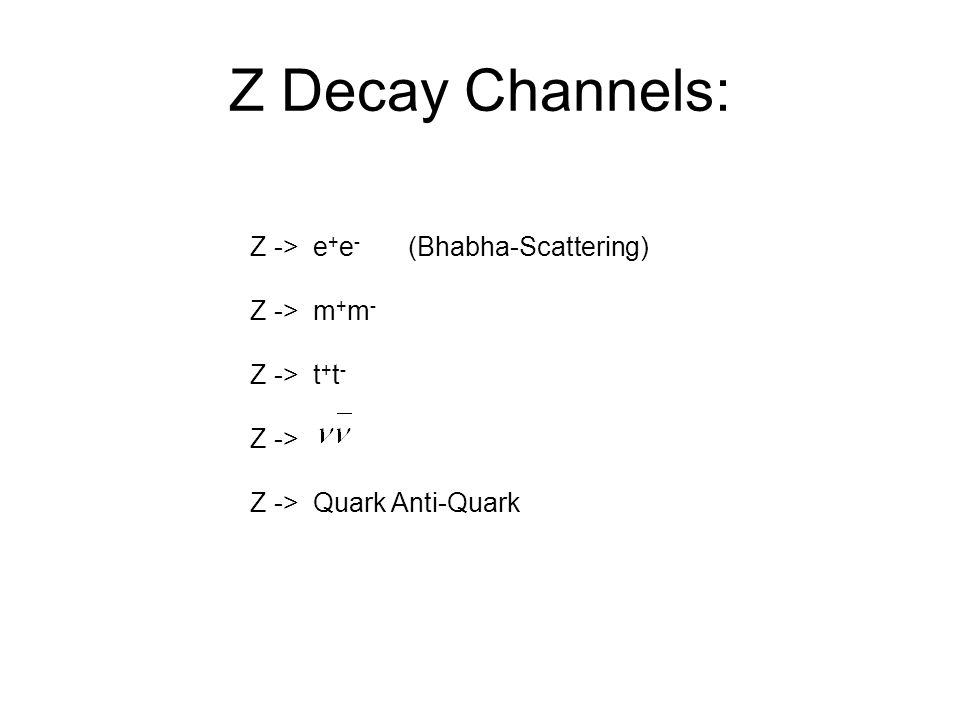 Z Decay Channels: Z -> e+e- (Bhabha-Scattering) Z -> m+m-