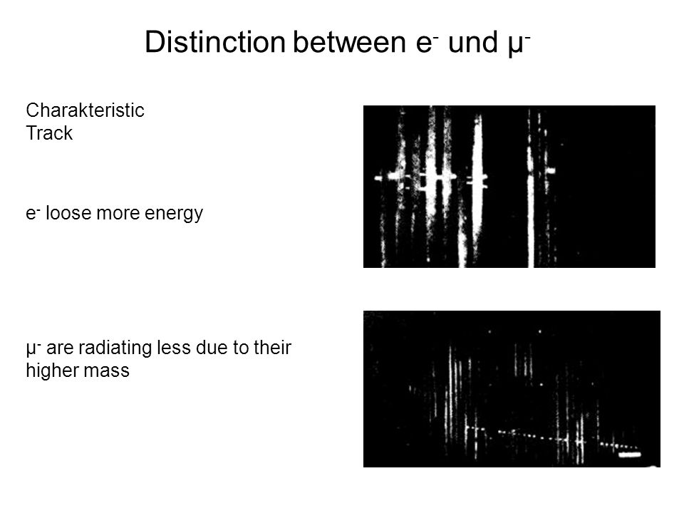 Distinction between e- und µ-
