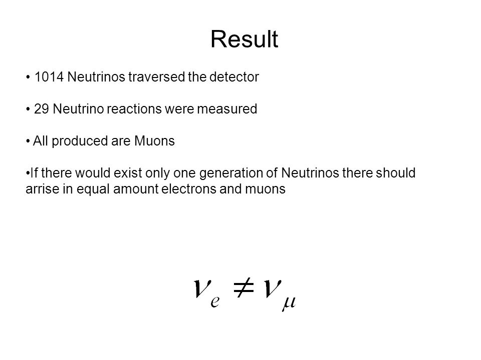 Result • 1014 Neutrinos traversed the detector