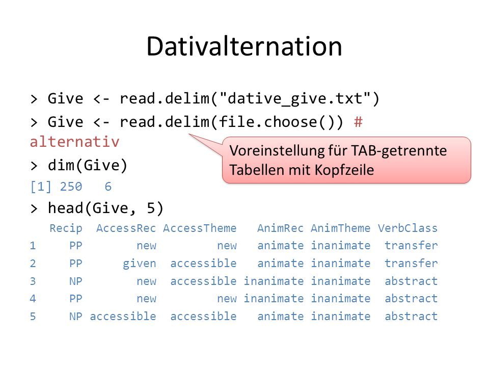 Dativalternation > Give <- read.delim( dative_give.txt )