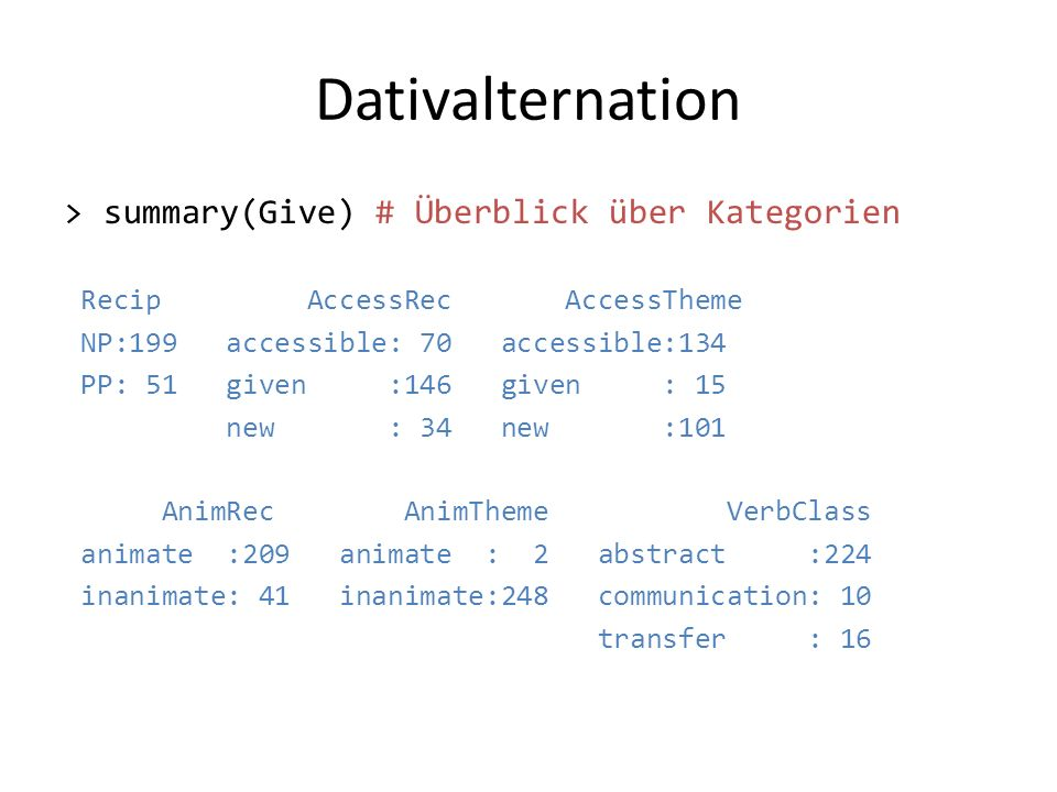 Dativalternation > summary(Give) # Überblick über Kategorien