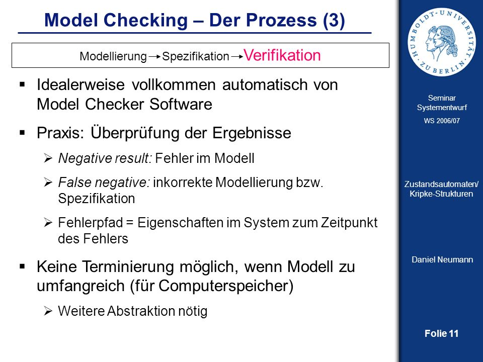 Model Checking – Der Prozess (3)