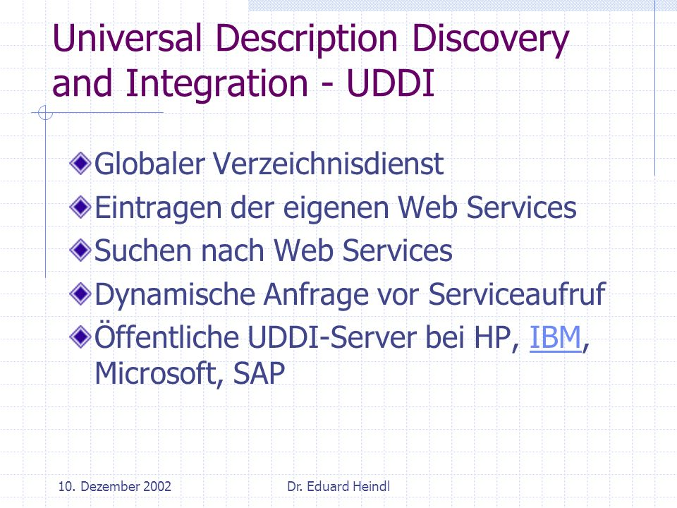 Universal Description Discovery and Integration - UDDI