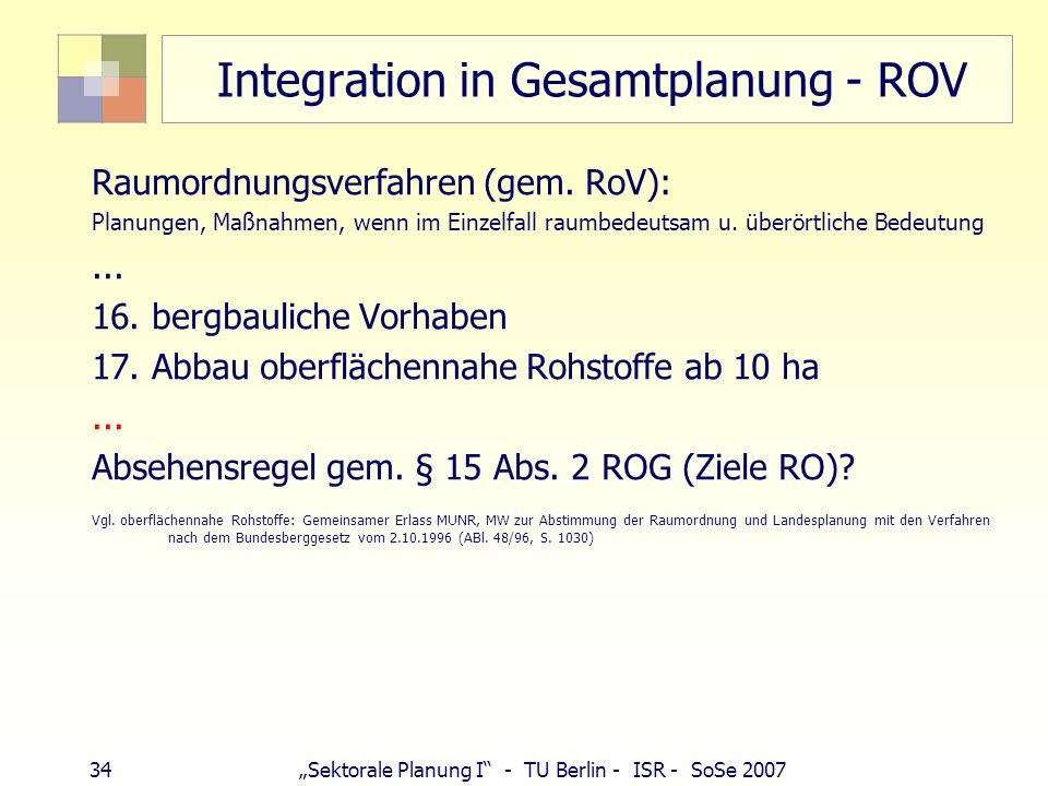 Integration in Gesamtplanung - ROV