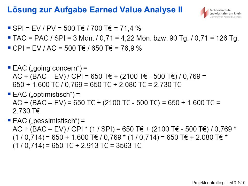 Lösung zur Aufgabe Earned Value Analyse II