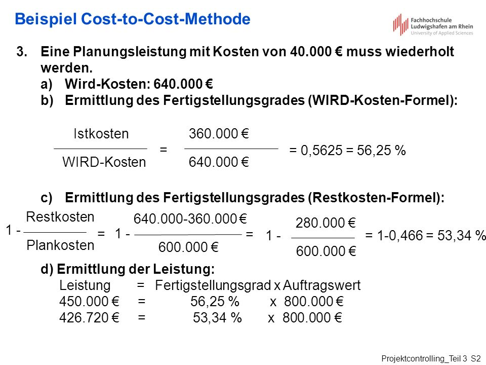 Beispiel Cost-to-Cost-Methode
