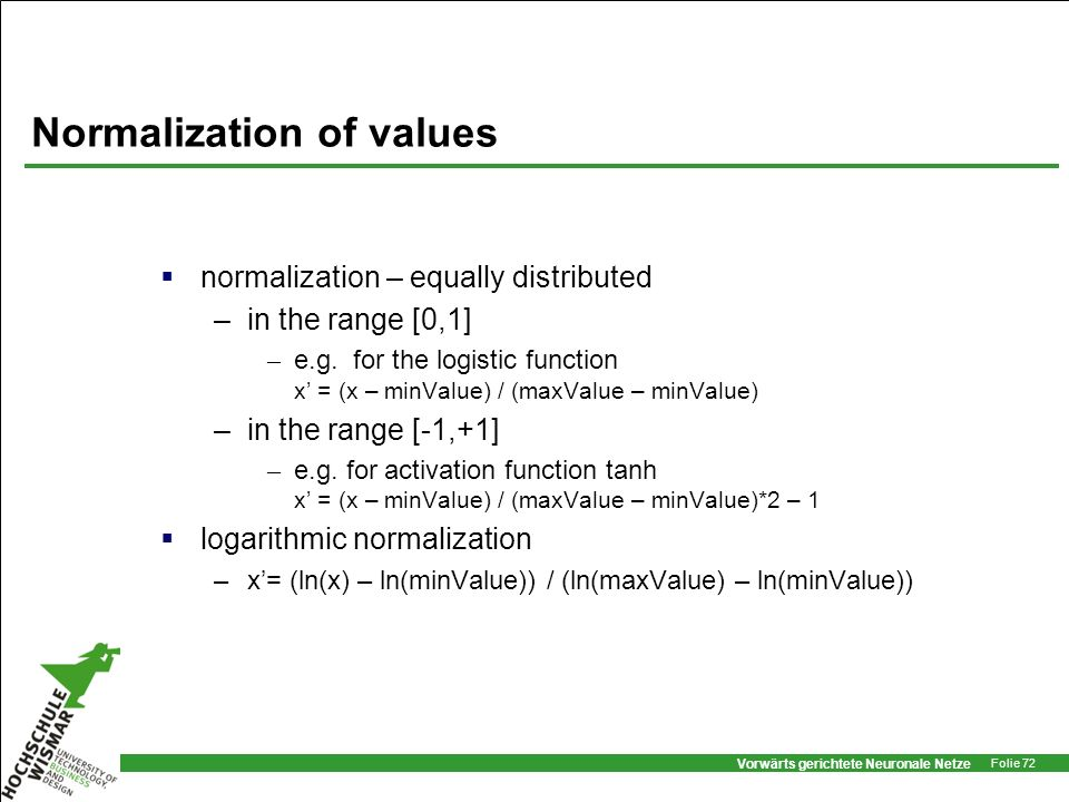 Normalization of values