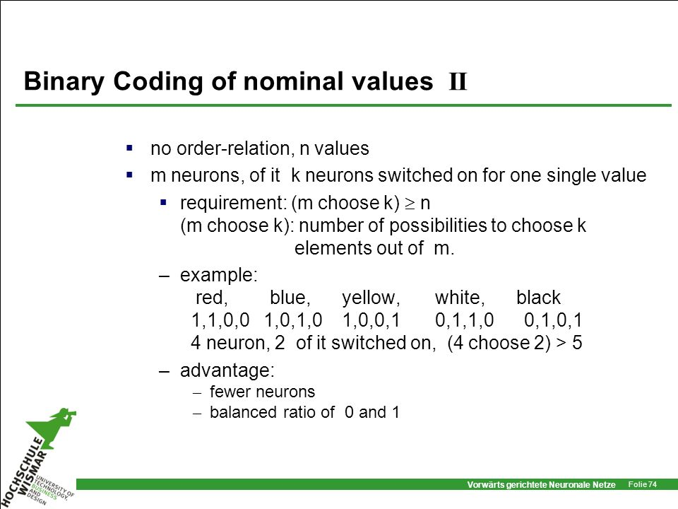 Binary Coding of nominal values II