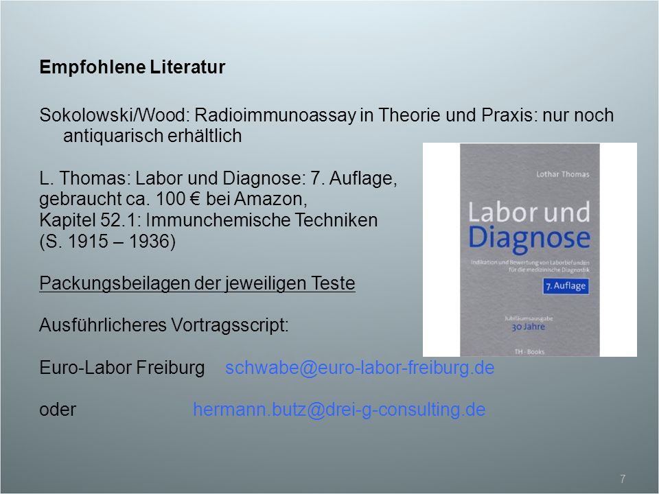L. Thomas: Labor und Diagnose: 7. Auflage,