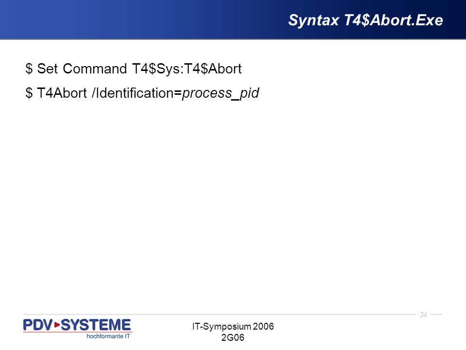 Syntax T4$Abort.Exe $ Set Command T4$Sys:T4$Abort