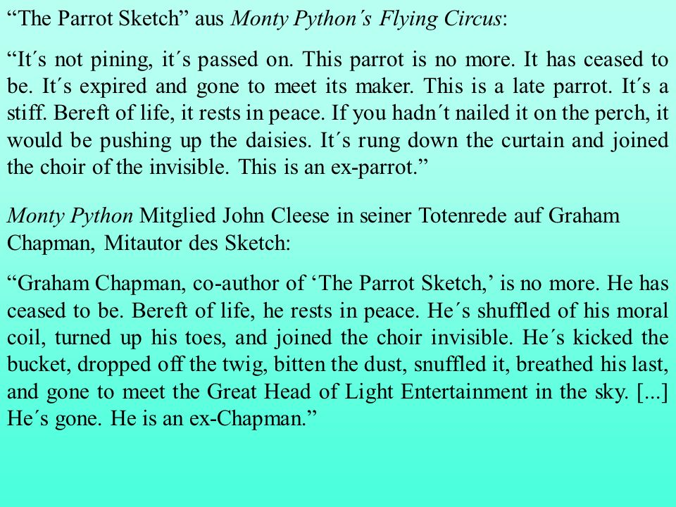 The Parrot Sketch aus Monty Python´s Flying Circus: