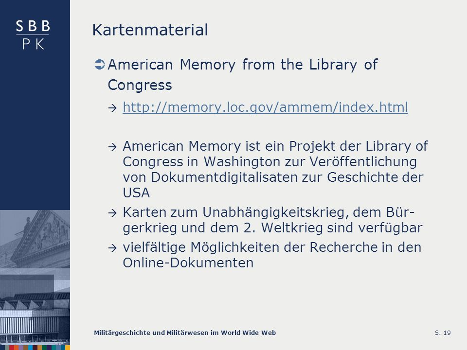 Kartenmaterial American Memory from the Library of Congress