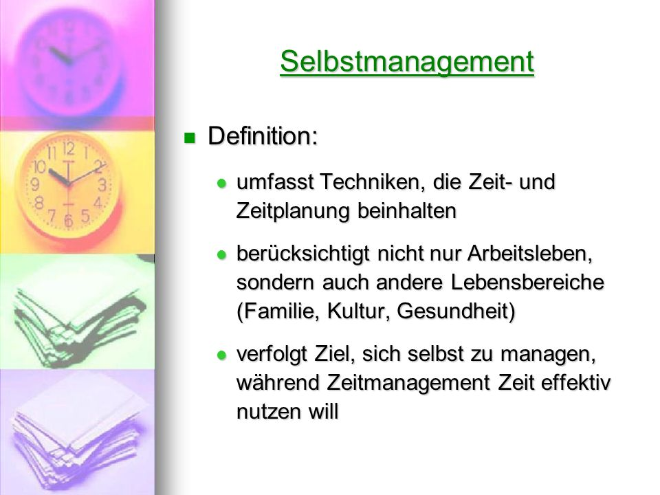 Selbstmanagement Definition: