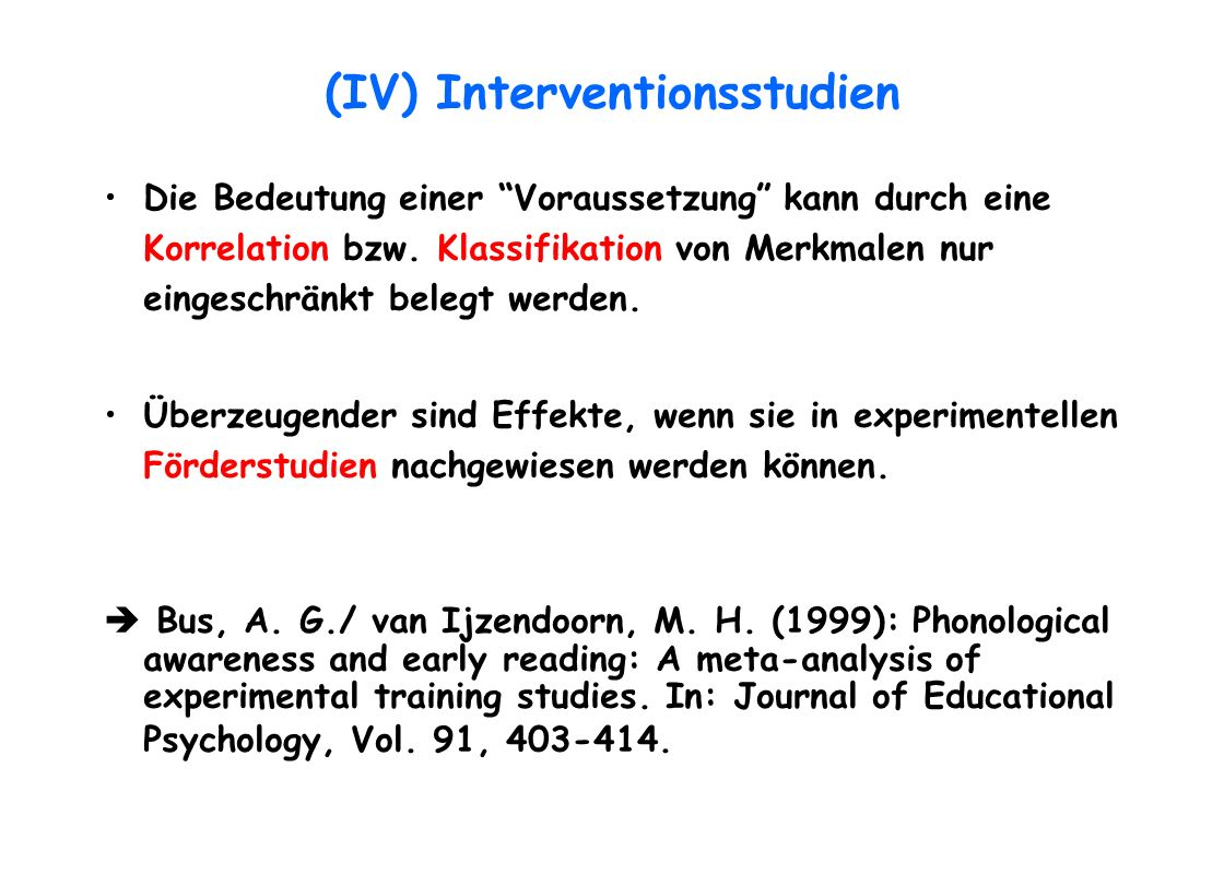 (IV) Interventionsstudien