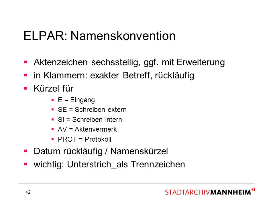ELPAR: Namenskonvention