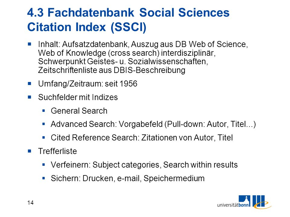 4.3 Fachdatenbank Social Sciences Citation Index (SSCI)