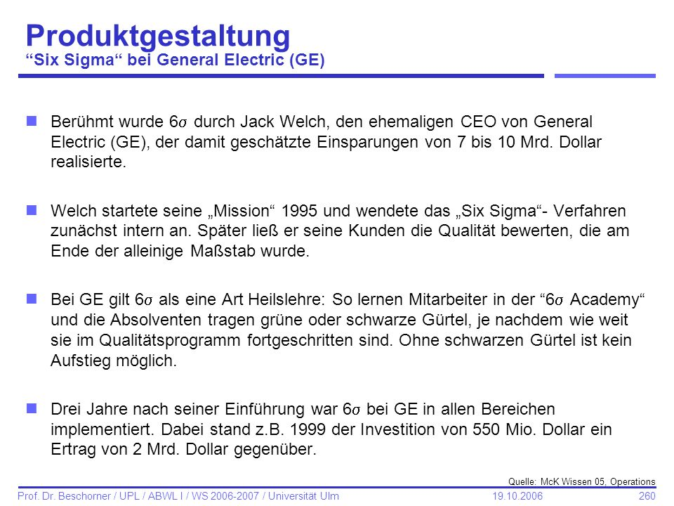 Produktgestaltung Six Sigma bei General Electric (GE)