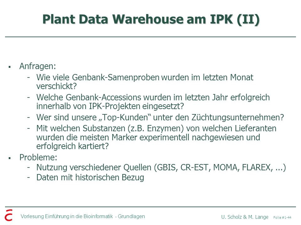 Plant Data Warehouse am IPK (II)