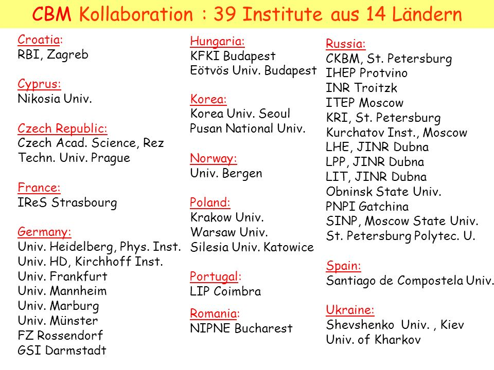 CBM Kollaboration : 39 Institute aus 14 Ländern