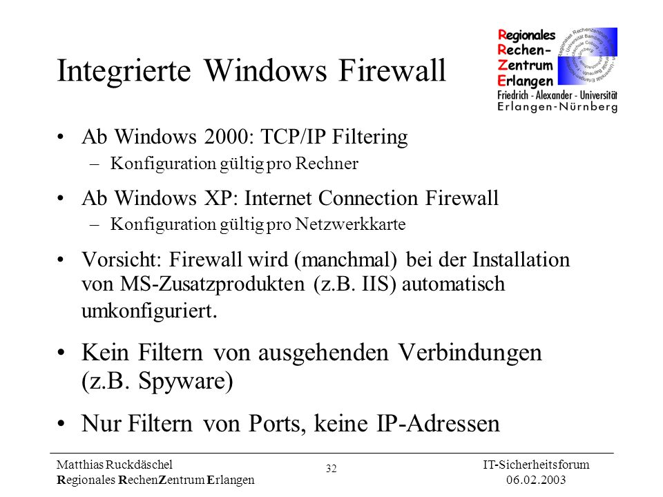 Integrierte Windows Firewall