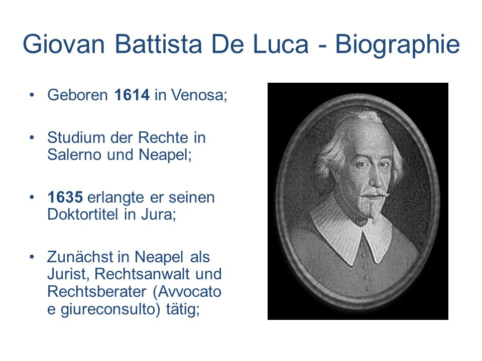 Giovan Battista De Luca - Biographie