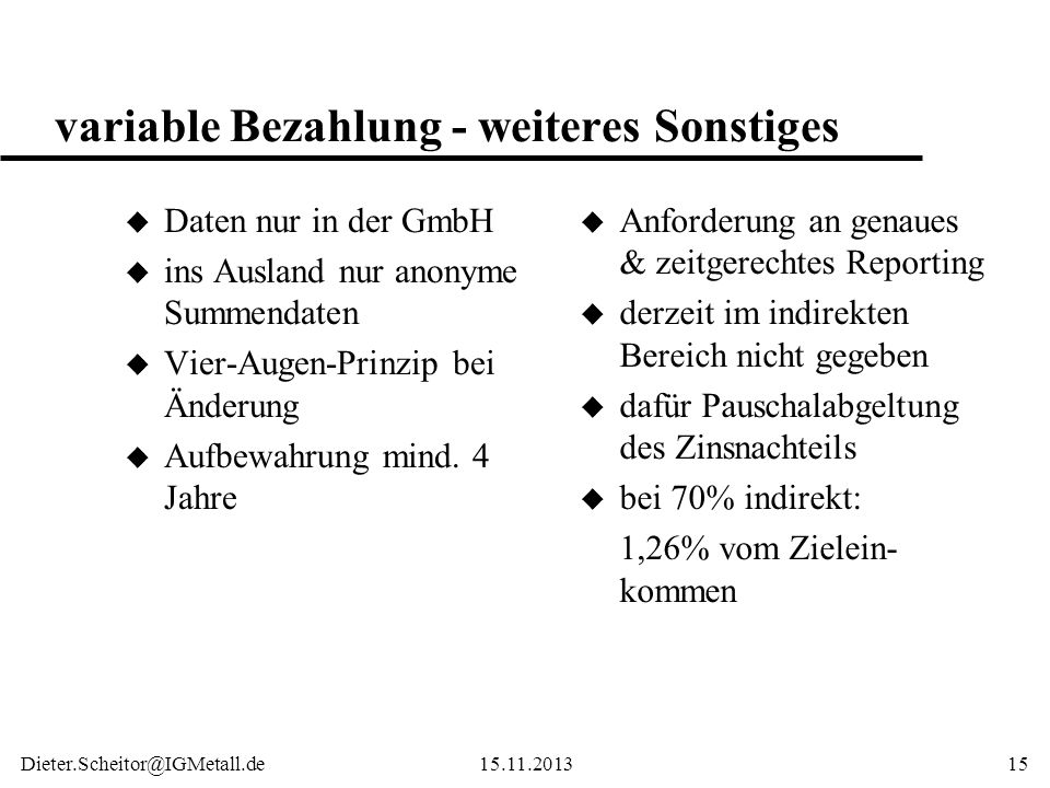 variable Bezahlung - weiteres Sonstiges