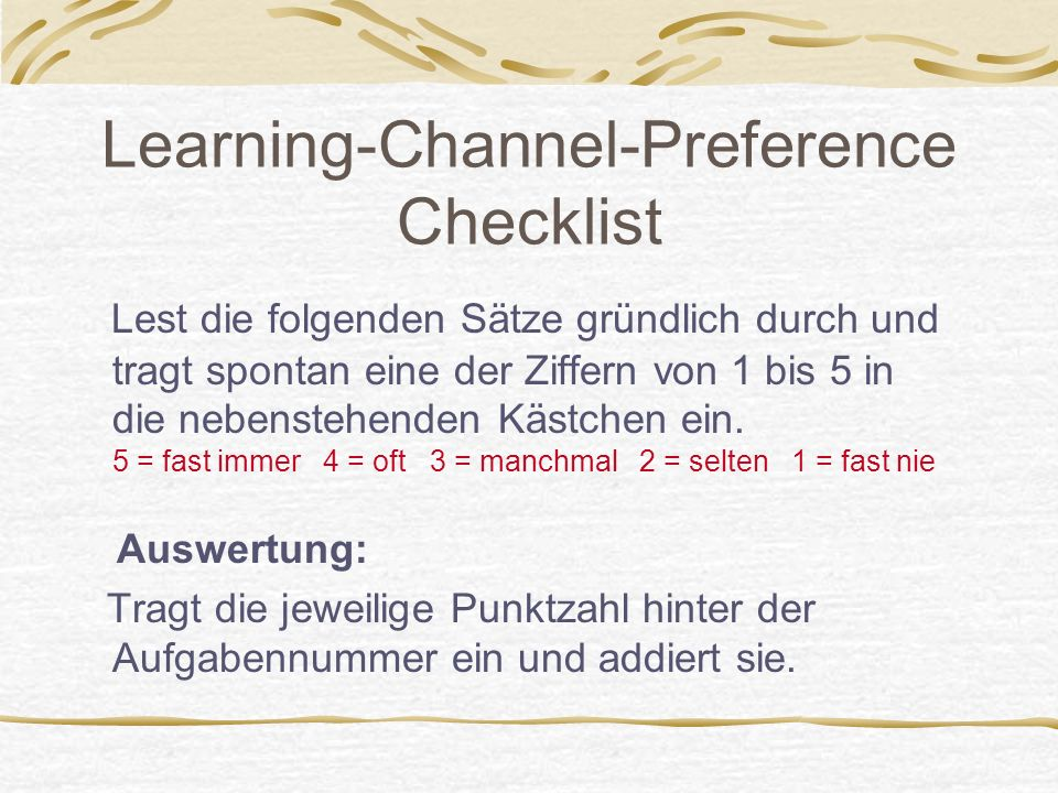 Learning-Channel-Preference Checklist